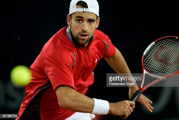 Nicola Kiefer of Germany in action during his match against Sebastien Grojean of France during the Masters Series Hamburg at Rothenbaum on May 11...