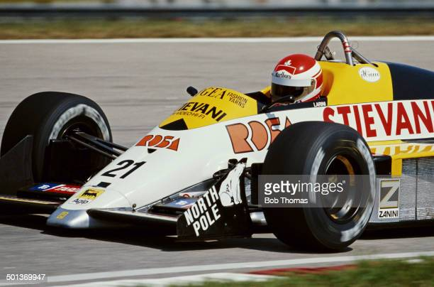 Nicola Larini of Italy drives the Osella Squadra Corse Osella FA1 Osella V8T turbo during practice for the Brazilian Grand Prix on 2nd April 1988 at...
