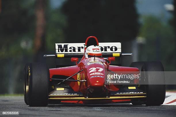 Nicola Larini of Italy drives the Scuderia Ferrari Ferrari 412T1 Ferrari V12 during the San Marino Grand Prix on 1 May 1994 at the Autodromo Enzo e...