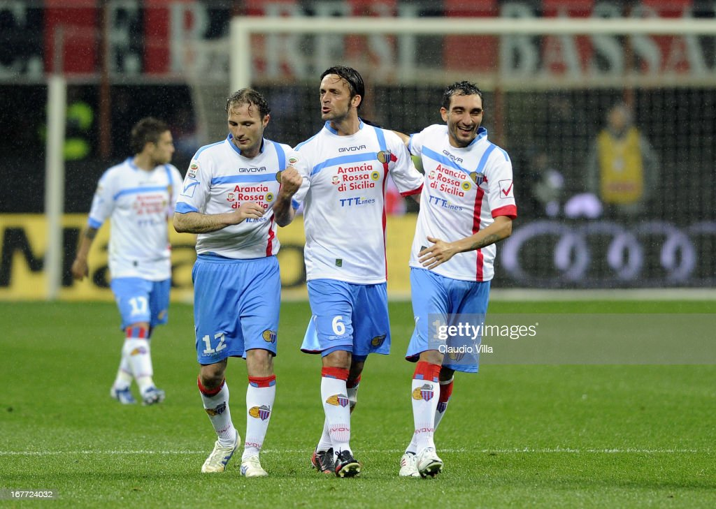 Nicola Legrottaglie of Calcio Catania #6 celebrates scoring the first goal during the Serie A match between AC Milan and Calcio Catania at San Siro Stadium on April 28, 2013 in Milan, Italy.