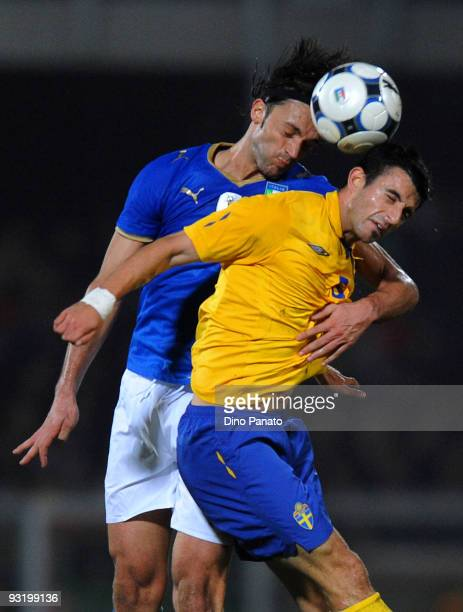 Nicola Legrottaglie of Italy competes with Behrang Safari of Sweden during the International friendly match between Italy and Sweden at Dino Manuzzi...