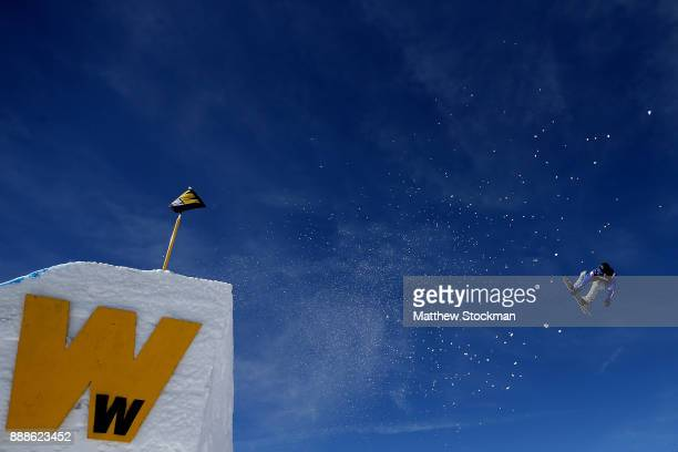 Nicola Liviero of Italy trains before competing in qualifying for the FIS World Cup 2018 Men's Snowboard Big Air during the Toyota US Grand Prix on...