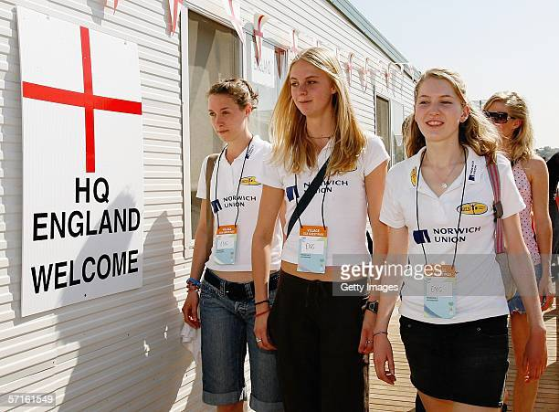 Nicola Maddick Hannah England and Hannah Brooks visit the English Headquaters whilst on a visit to the Commonwealth Games Athletes Village March 23...