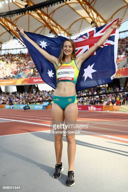 Nicola McDermott of Australia celebrates winning bronze in the Women's High Jump final during athletics on day 10 of the Gold Coast 2018 Commonwealth...