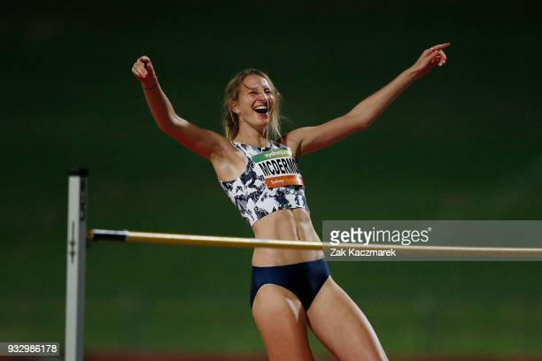Nicola McDermott of NSW reacts while competing in the Women's High Jumpduring the 2018 Sydney Athletics Grand Prix at Sydney olympic Park Athletics...
