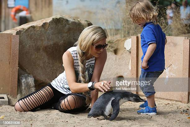 Nicola Mclean is sighted at ZSL London Zoo with her son Striker on August 23 2012 in London England