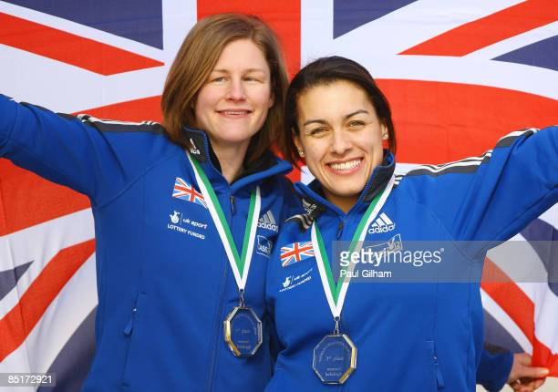 Nicola Minichiello and Gillian Cooke of Great Britain pose together at the London Eye following a press conference at the Press Association on March...