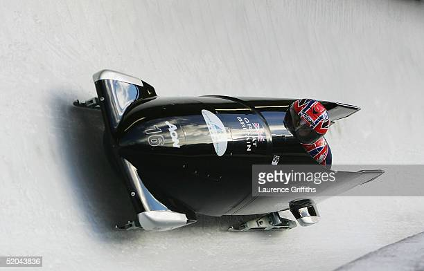 Nicola Minichiello and Jackie Davies pilot Great Britain One during the FIBT World Cup Womens Bob on January 21 2005 at the San SicarioPariol ski...