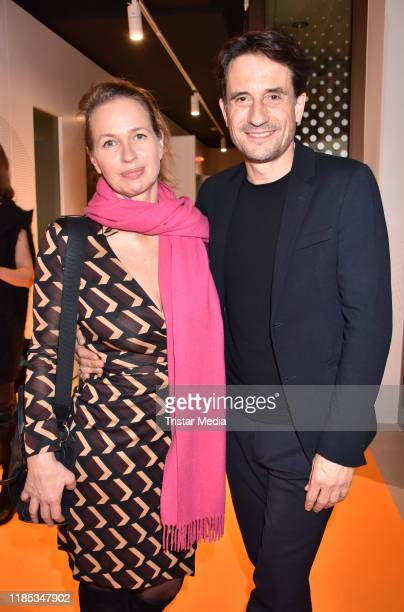 Nicola Mommsen and her husband Oliver Mommsen attend the Audible studios opening at Schumannstrasse on November 28 2019 in Berlin Germany