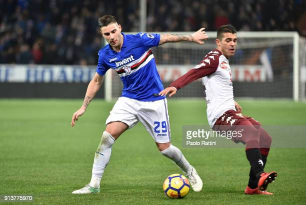 Nicola Murru of Sampdoria and Iago falque of Torino during the serie A match between UC Sampdoria and Torino FC at Stadio Luigi Ferraris on February...