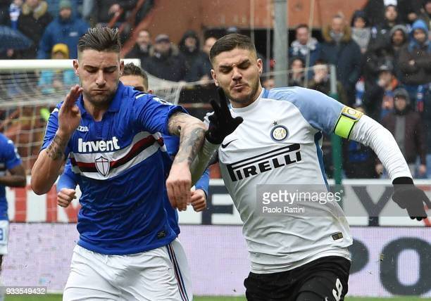 Nicola Murru of Sampdoria opposed to Mauro Icardi of Inter during the serie A match between UC Sampdoria and FC Internazionale at Stadio Luigi...