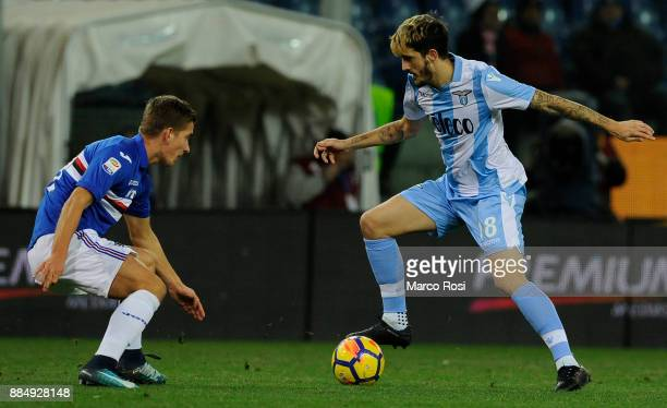 Nicola Murru of UC Sampdoria compete for the ball with Luis Alberto of SS Lazio during the Serie A match between UC Sampdoria and SS Lazio at Stadio...
