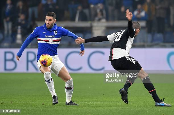 Nicola Murru of UC Sampdoria competes for the ball with Merih Demiral of Juventus during the Serie A match between UC Sampdoria and Juventus at...