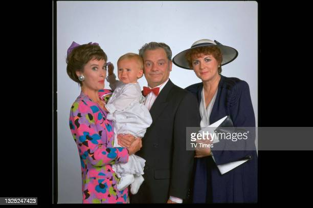 Nicola Pagett, David Jason and Gwen Taylor in character as Liz, Ted and Rita in comedy drama A Bit Of A Do, circa 1989.