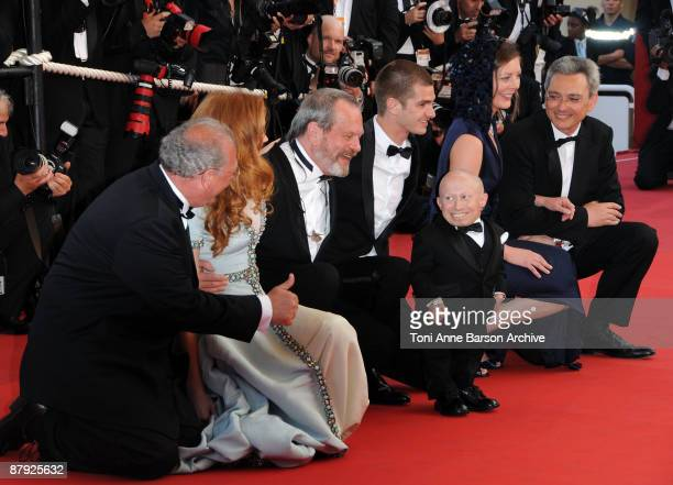 Nicola Percorini Model Lily Cole director Terry Gilliam actor Andrew Garfield actor Verne Troyer Amy Gilliam and Samuel Hadida attend The Imaginarium...