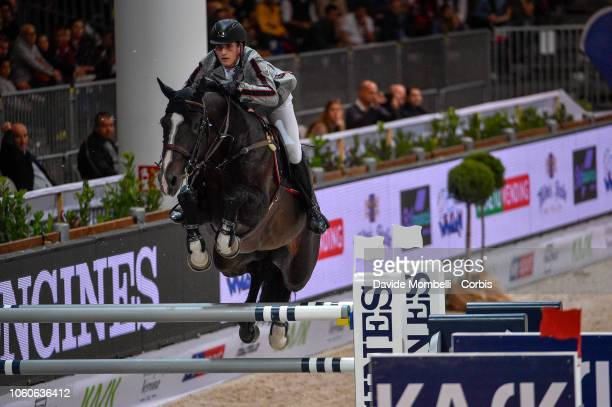 Nicola Philippaerts of Belgium rider HM Chilli Willi during the Longines FEI Jumping World Cup Verona 2018 CSI5*W on October 28 2018 in Verona Italy