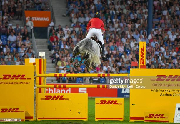 Nicola Philippaerts of Belgium riding HM Harley v Bisschop during Goed during the MercedesBenz Nations' Cup Team jumping competition with two rounds...
