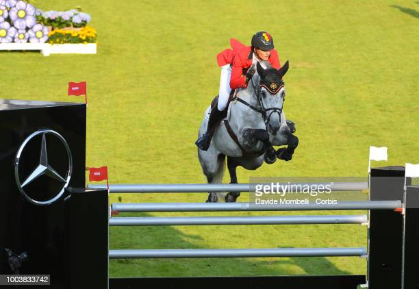 Nicola Philippaerts of Belgium riding HM Harley v Bisschop during the MercedesBenz Nations' Cup Team jumping competition with two rounds under...