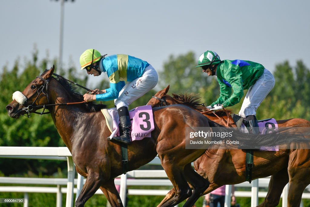 Nicola Pinna ridies Folega to victory during the Oaks D'Italia run at the San Siro Racecourse on May 28, 2017 in Milan, Italy.