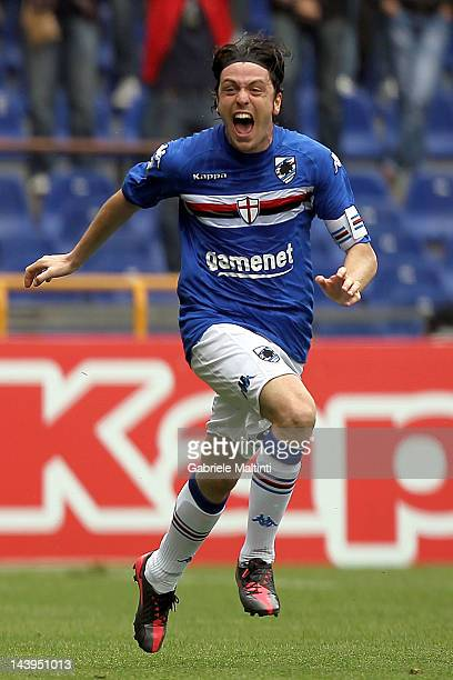Nicola Pozzi of UC Sampdoria celebrates after scoring a goal during the Serie B match between UC Sampdoria and Reggina Calcio at Luigi Ferraris...
