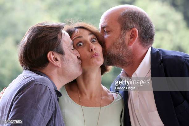 Nicola Rignanese, Lorenza Indovina and Antonio Albanese attend 'I Topi' Photocall at Casa del Cinema on October 1, 2018 in Rome, Italy.