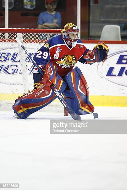 Nicola Riopel of the Moncton Wildcats stands ready to stop a host during the warm up period prior to facing the Montreal Juniors at the Verdun...