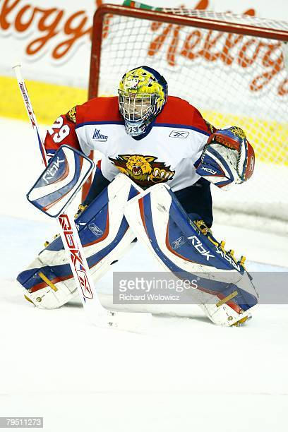Nicola Riopel of the Moncton Wildcats watches play during the game against the Quebec City Remparts at Colisee Pepsi on January 31, 2008 in Quebec...