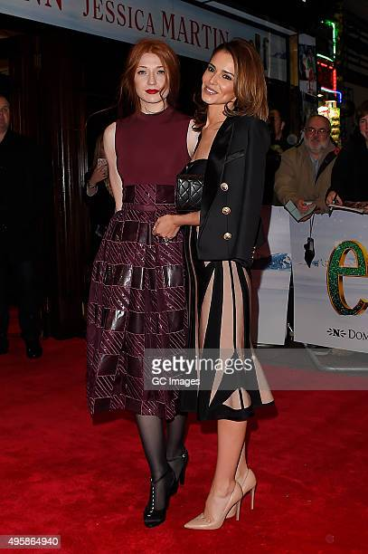 Nicola Roberts and Cheryl Fernandez Versini arrive at The Dominion Theatre for Elf the musical gala night on November 5 2015 in London England