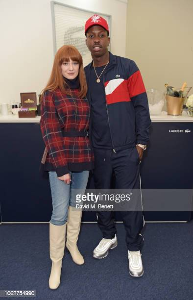 Nicola Roberts and Jamal Edwards pose in the Lacoste VIP Lounge during SemiFinal Day of the 2018 Nitto ATP World Tour Tennis Finals at The O2 Arena...