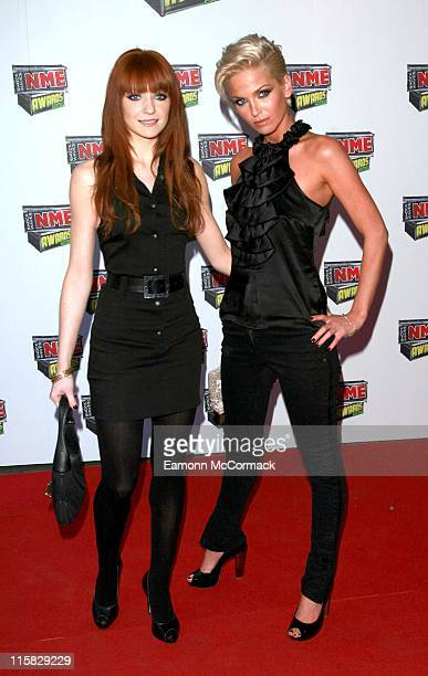 Nicola Roberts and Sarah Harding from Girls Aloud during Shockwaves NME Awards 2007 Red Carpet Arrivals at Hammersmith Palais in London United Kingdom