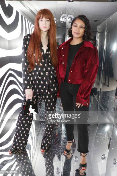 Nicola Roberts and Vanessa White attend the Lulu Guinness AW18 London Fashion Week presentation on February 17 2018 in London England