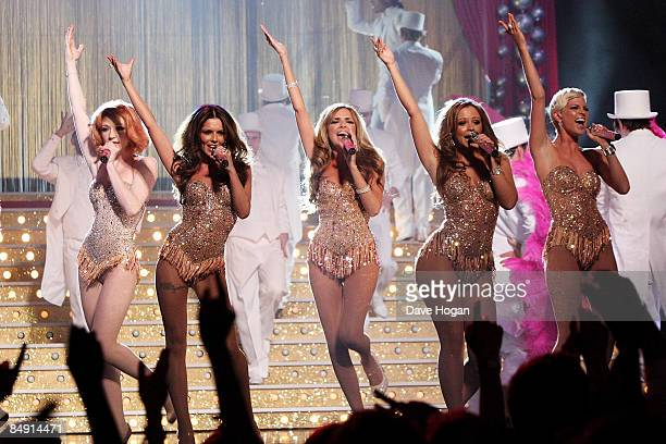 Nicola Roberts Cheryl Cole Nadine Coyle Kimberley Walsh and Sarah Harding of Girls Aloud perform at the Brit Awards 2009 held at Earls Court on...