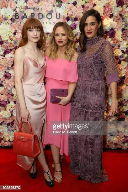 Nicola Roberts Kimberley Walsh and Guest attend The BARDOU Foundation's International Women's Day IWD private dinner at The Hospital Club on March 8...