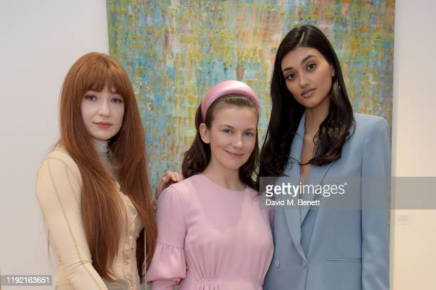 Nicola Roberts Maria BehnamBakhtiar and Neelam Gill attend the launch of Galerie BehnamBakhtiar and the private view of 'Human Being Being Human' by...