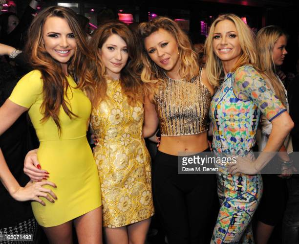 Nicola Roberts Nadine Coyle Kimberley Walsh and Sarah Harding of Girls Aloud attend their London Ten The Hits Tour after party at Whisky Mist Club on...