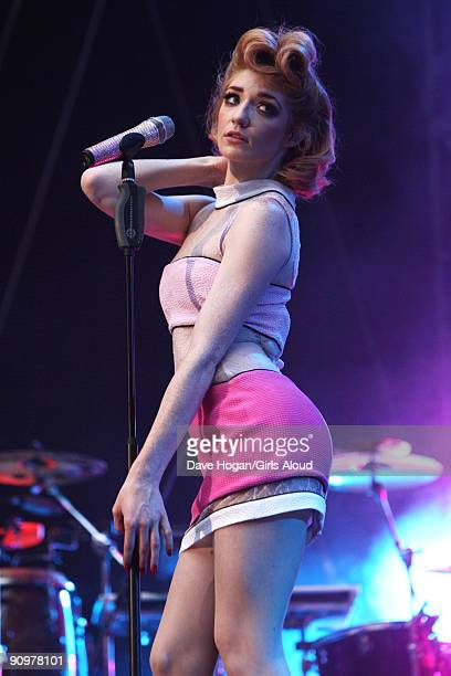 Nicola Roberts of Girls Aloud performs at Wembley Stadium as part of Coldplay's Viva La Vida tour at Wembley Stadium on September 19 2009 in London...