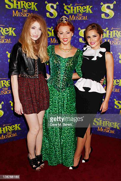 Nicola Roberts,Kimberly Walsh and Cheryl Cole attend singer Kimberley Walsh's debut in the role of Fiona in 'Shrek The Musical' at the Theatre Royal...