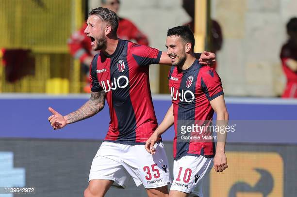 Nicola Sansone of Bologna FC celebrates after scoring a goal during the Serie A match between Bologna FC and Empoli at Stadio Renato Dall'Ara on...