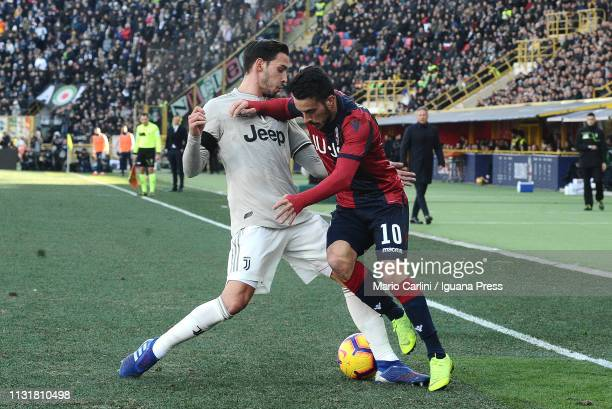 Nicola Sansone of Bologna FC in action during the Serie A match between Bologna FC and Juventus at Stadio Renato Dall'Ara on February 23 2019 in...