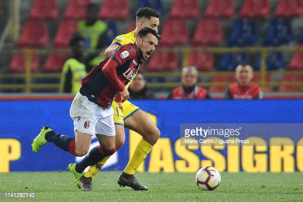 Nicola Sansone of Bologna FC in action during the Serie A match between Bologna FC and Chievo at Stadio Renato Dall'Ara on April 08 2019 in Bologna...