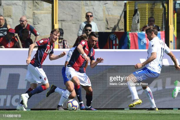 Nicola Sansone of Bologna FC in action during the Serie A match between Bologna FC and UC Sampdoria at Stadio Renato Dall'Ara on April 20 2019 in...