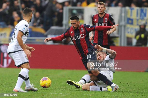 Nicola Sansone of Bologna FC in action during the Serie A match between Bologna FC and Parma Calcio at Stadio Renato Dall'Ara on November 24 2019 in...