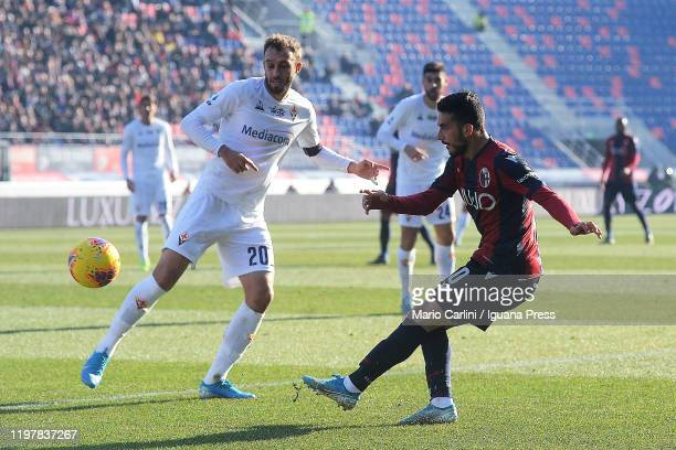 Nicola Sansone of Bologna FC in action during the Serie A match between Bologna FC and ACF Fiorentina at Stadio Renato Dall'Ara on January 06 2020 in...