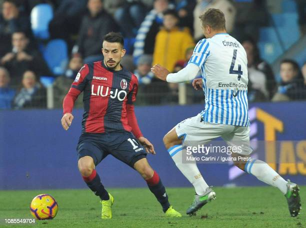Nicola Sansone of Bologna FC in action during the Serie A match between SPAL and Bologna FC at Stadio Paolo Mazza on January 20 2019 in Ferrara Italy