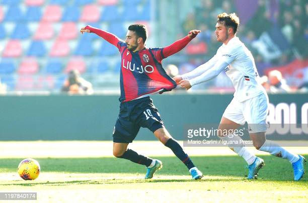Nicola Sansone of Bologna FC reacts during the Serie A match between Bologna FC and ACF Fiorentina at Stadio Renato Dall'Ara on January 06 2020 in...