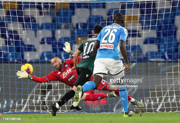 Nicola Sansone of Bologna FC scores the 12 goal during the Serie A match between SSC Napoli and Bologna FC at Stadio San Paolo on December 01 2019 in...