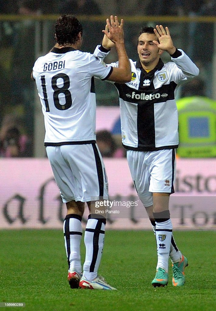 Nicola Sansone of Parma FC celebrates after scoring his opening goal during the Serie A match between Parma FC and FC Internazionale Milano at Stadio Ennio Tardini on November 26, 2012 in Parma, Italy.