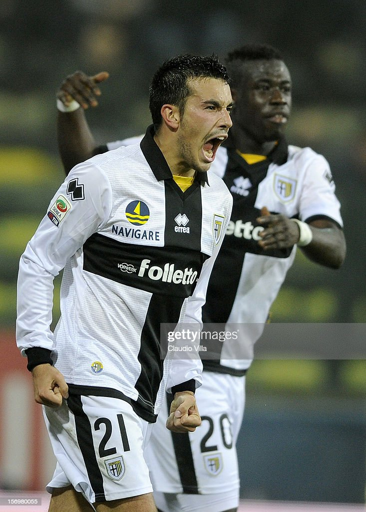 Nicola Sansone of Parma FC (C) celebrates scoring the first goal during the Serie A match between Parma FC and FC Internazionale Milano at Stadio Ennio Tardini on November 26, 2012 in Parma, Italy.