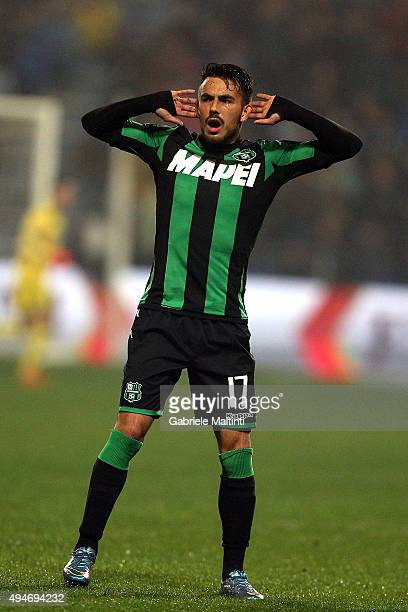 Nicola Sansone of US Sassuolo Calcio celebrates after scoring a goal during the Serie A match between US Sassuolo Calcio and Juventus FC at Mapei...