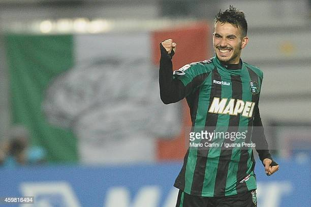 Nicola Sansone of US Sassuolo Calcio celebrates after scoring his team's first goal during the Serie A match between US Sassuolo Calcio and Hellas...